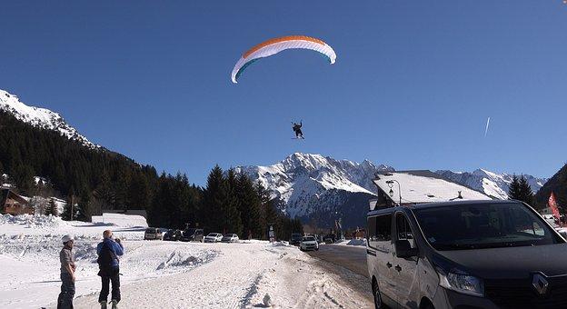 Paragliding, Mountain, Landscape, Ski, Snow, Sailing