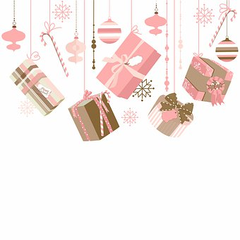 Christmas Digital Paper, Pink And Brown