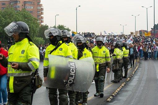 Police, Colombia, Protest, March, Resistance, Bogotá