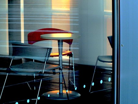 Cafe, Chair, Table, Reflection, Interior