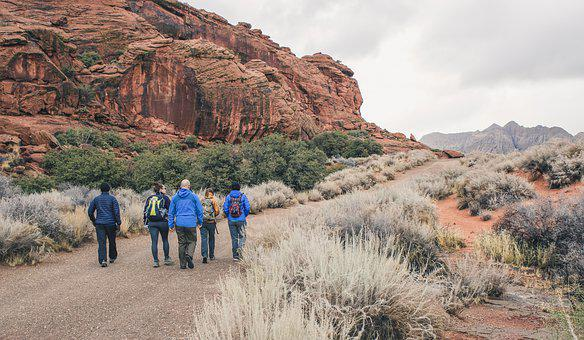 Utah, Rock, Road, Group, Walking, Winter, Desert, Red