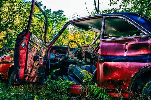 Pkw, Scrap, Wreck, Auto, Rusted, Rust