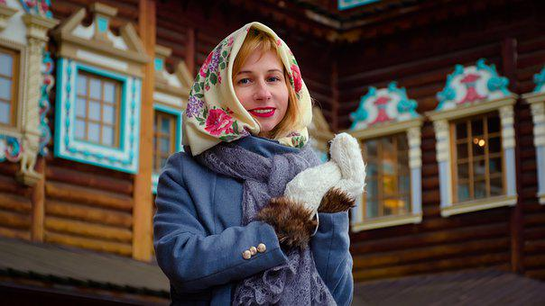 Girl, Woman, Russian, Russia, Slav, Folk Costume, Shawl