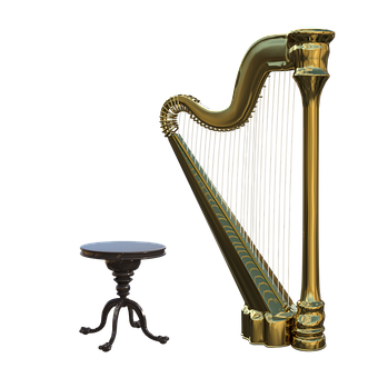 Harp, Stool, Strings, Musical, Instrument, Concert