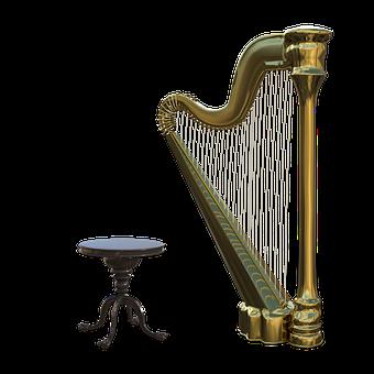 Harp, Stool, Strings, Musical