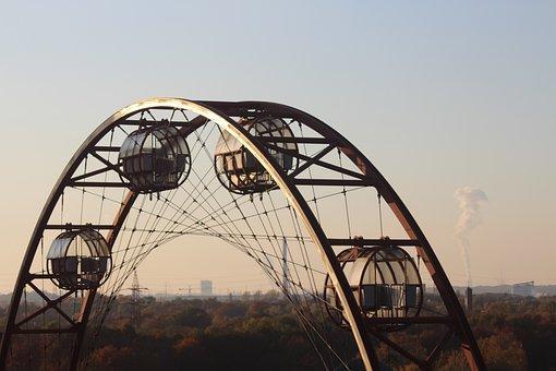 Ferris Wheel, Sunrise, Sky, Sun, Germany, Zeche