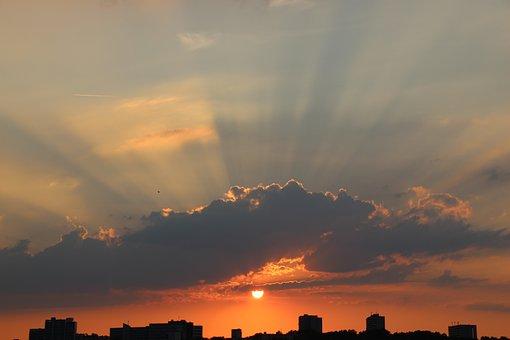 Stuttgart, Sunset, Landscape, Clouds, Mood, Evening