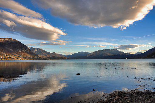 Lake, Annecy, Landscape, Cloud, Sunset, Rhône-alpes