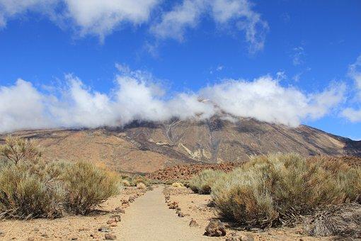 Tenerife, Teide, Volcano, Clouds, Canary Islands