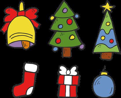 Christmas, The Christmas Tree, Bell, Sock, Gift