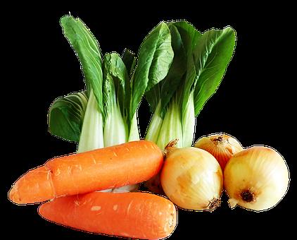 Vegetables, Carrots, Onions, Asian, Pak Choy