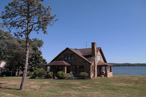 House, Lake, Landscape, Nature, Water, Sky