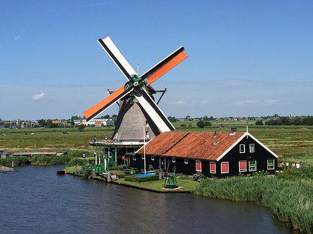 Holland, Windmill, Netherlands, Landscape, Sky, Tourism