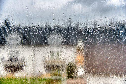 Window Pane, Rain, Blurry, Raindrop, House, Clouds