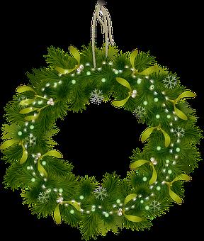 Christmas Wreath, Green, Lights, Nail, Wreath, Xmas