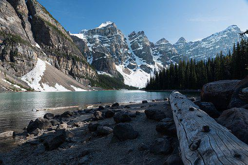 Lake, More, Mountains, Alberta, Canada, Landscape