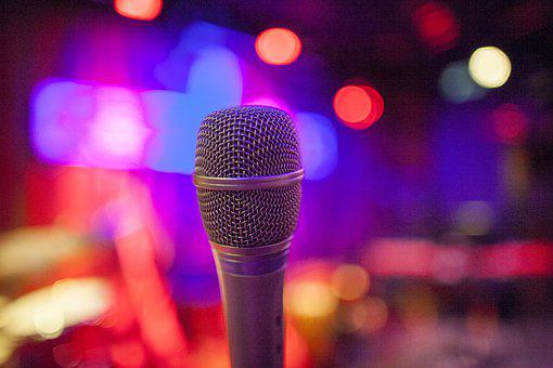 Microphone, Music, Blue, Violet, Sing, Mic, Equipment