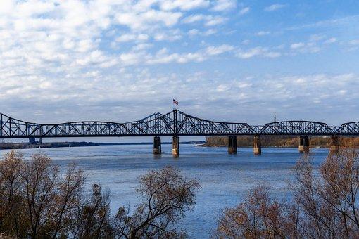 Mississippi River, Bridge, American Flag, River
