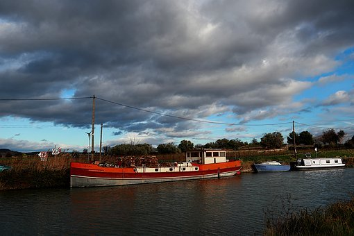 Canal Du Midi, Boat, Peniche, Water, France, South