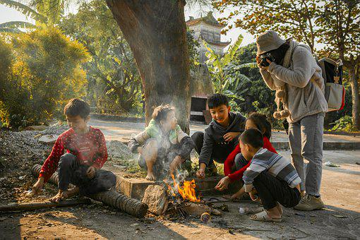 Children, Smiles, Fire, Frolic, Life, Photography