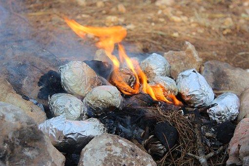 Fire, Potatoes, Bonfire, Coals, Smoke, Hot, Stones