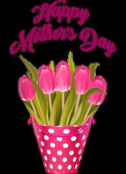 Happy Mother's Day, Tulips In Bucket, Flowers, Tulip