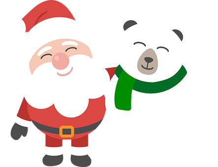 Santa, Polar Bear, Christmas, Cartoon, Comic, Holidays