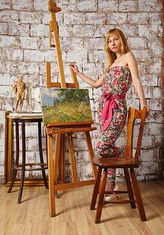 Artist, Easel, Picture, Chair, Jumpsuit, Sculpture