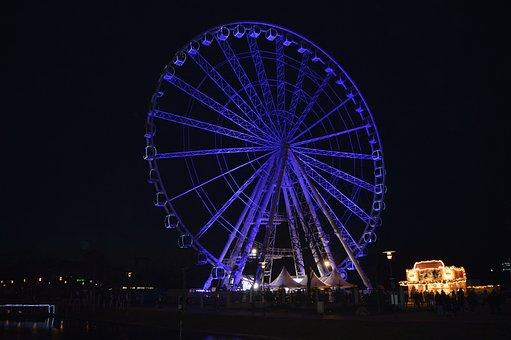 Night, Ferris Wheel, City, Lighting, Tourism