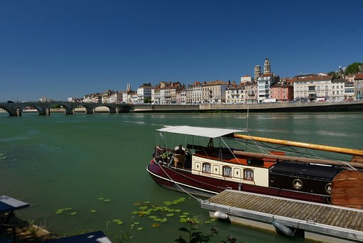 Mâcon, Saone, Ship, River, Blue, Water, Sky, Mood, City