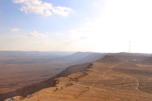 Desert, Brown, Israel, Nature, Crator, Landscape, Land