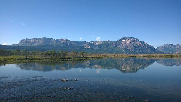 Reflection, Sky, Mountains, Lake, River, Nature, Water