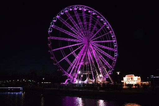 Night, Purple, Dark, Ferris Wheel, Abstract, Colorful