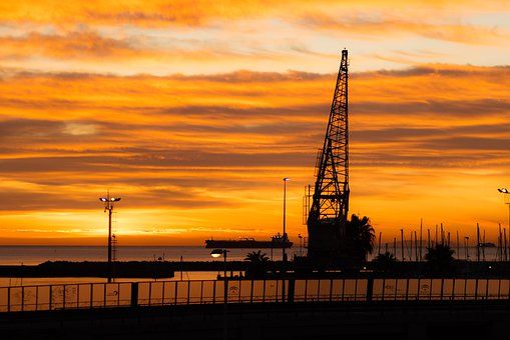 Amanecer, Sunrise, Sea, Horizonte, Puerto, Port, Ship