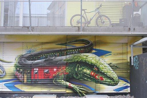 Train, Bike, Facade Art, Road, Balcony, Lizard