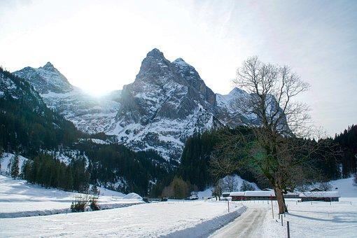 Rosenlaui, Mountain, Snow, Winter, Landscape, Nature