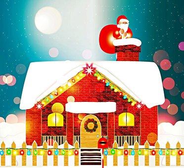 Santa Claus, Chimney, House, Brick, Night, Moon, Bokeh