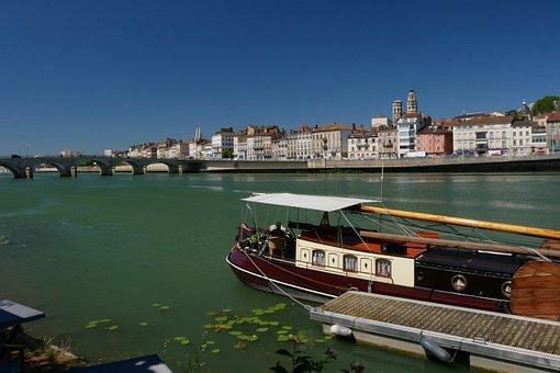 Mâcon, Saone, Ship, River, Blue, Water, Sky, Mood, City