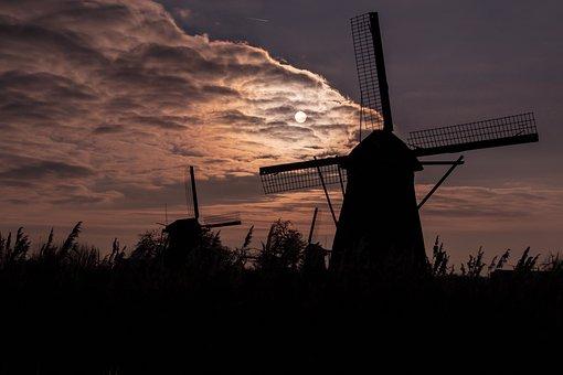Sunset, Windmills, Windräder, Sky, Landscape, Wind