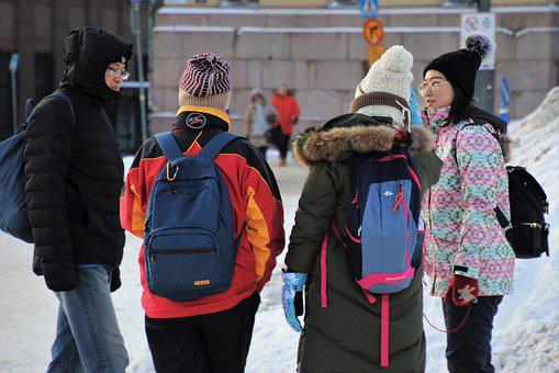 Group, Student, Conversation, Winter, Snow, City, Cold