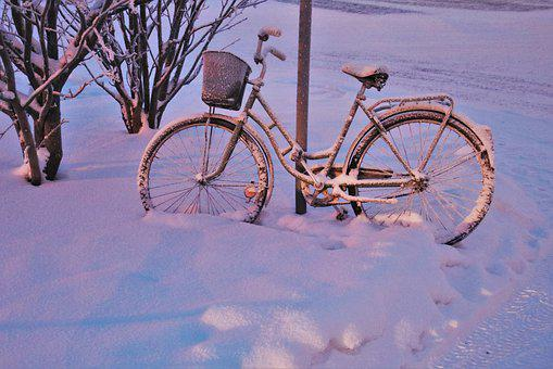 Snow, Dawn, Bike, Frost, Frozen, Shadow, Light, Icy