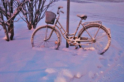Snow, Dawn, Bike, Frost, Frozen, Shadow, Light, Icy