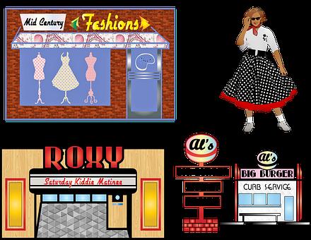 Retro 1950's Clip Art, Soda Shop, Lunch, Dinner