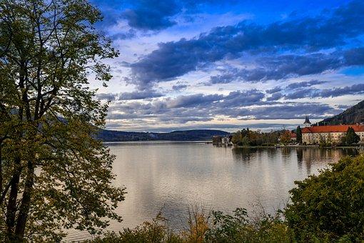 Abendstimmung, Tegernsee, Lake, Monastery, Autumn