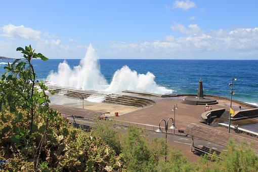 Tenerife, Wave, Water, Beach, Ocean, Vacations