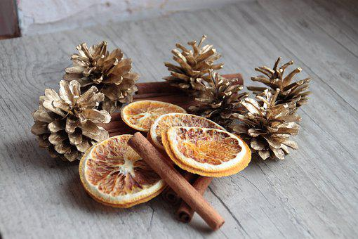 Pinecone, Golden, Christmas, Festive, Winter
