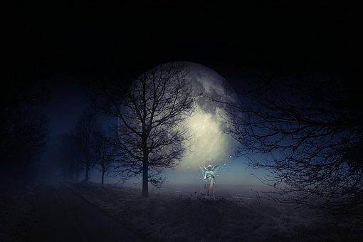 Angel, Moon, Night, Sky, Fantasy, Emotion, Christmas