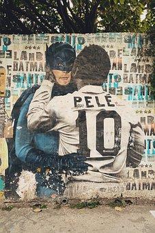 Pele, Wall, Street, Art, City, Graffiti, Creative