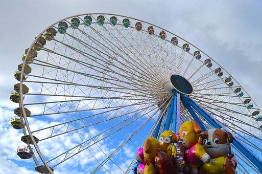Ferris Wheel, Blue Sky, Balloon, Ride, Year Market