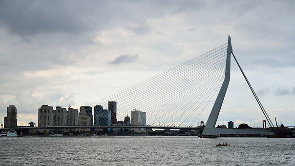 Bridge, Rotterdam, Modern Architecture, Cables